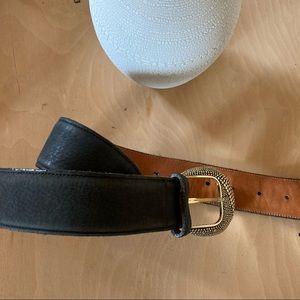 ZELE Black Leather Antique Gold Buckle Belt SM